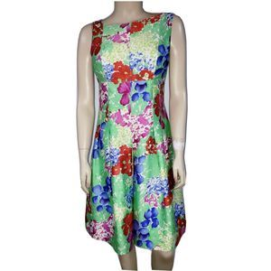 Rickie Freeman Teri Jon Floral Print Dress Silk